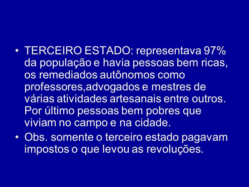 TERCEIRO ESTADO: representava 97% da população e havia pessoas bem ricas, os remediados autônomos como professores,advogados e mestres de várias atividades artesanais entre outros. Por último pessoas bem pobres que viviam no campo e na cidade.