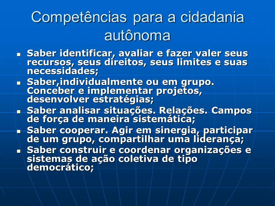 Competências para a cidadania autônoma