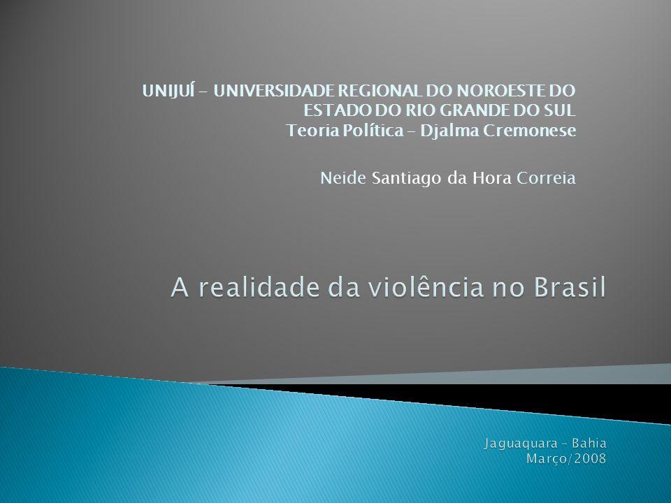 A realidade da violência no Brasil Jaguaquara – Bahia Março/2008