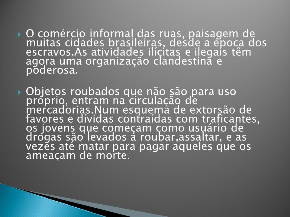 O comércio informal das ruas, paisagem de muitas cidades brasileiras, desde a época dos escravos.As atividades ilícitas e ilegais têm agora uma organização clandestina e poderosa.