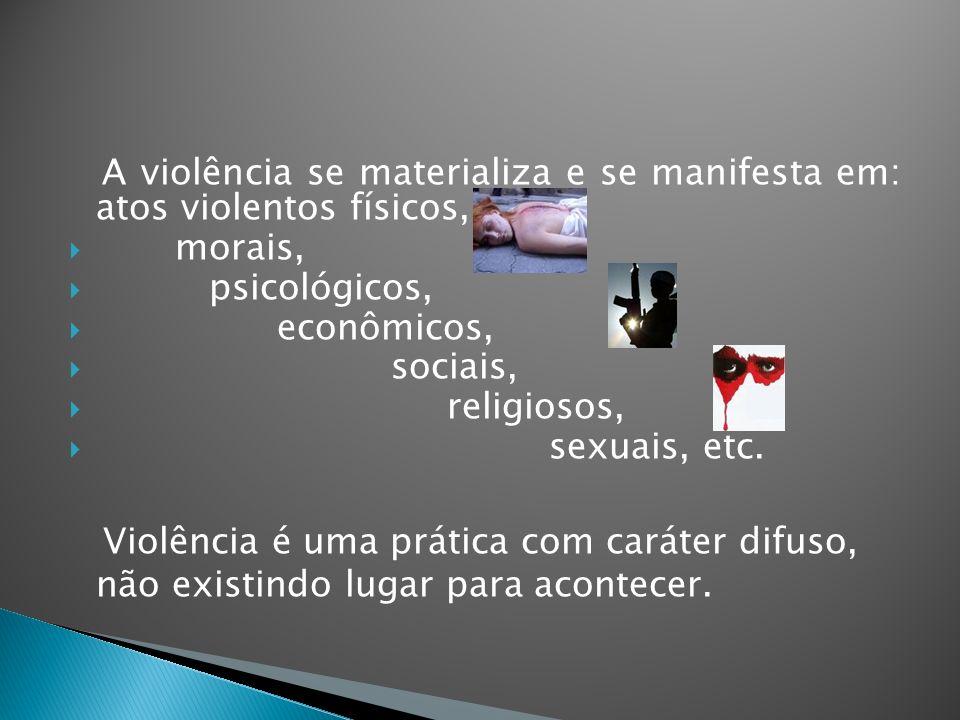 A violência se materializa e se manifesta em: atos violentos físicos,