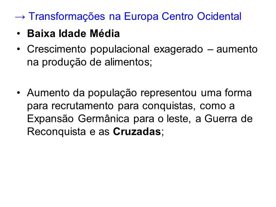 → Transformações na Europa Centro Ocidental