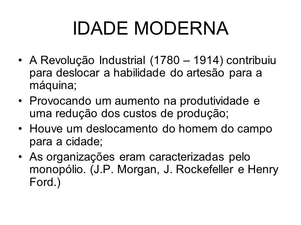 IDADE MODERNAA Revolução Industrial (1780 – 1914) contribuiu para deslocar a habilidade do artesão para a máquina;