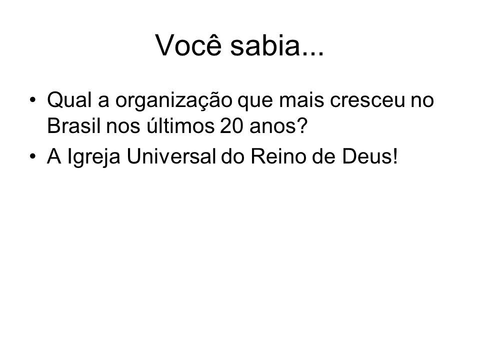 Você sabia...Qual a organização que mais cresceu no Brasil nos últimos 20 anos.