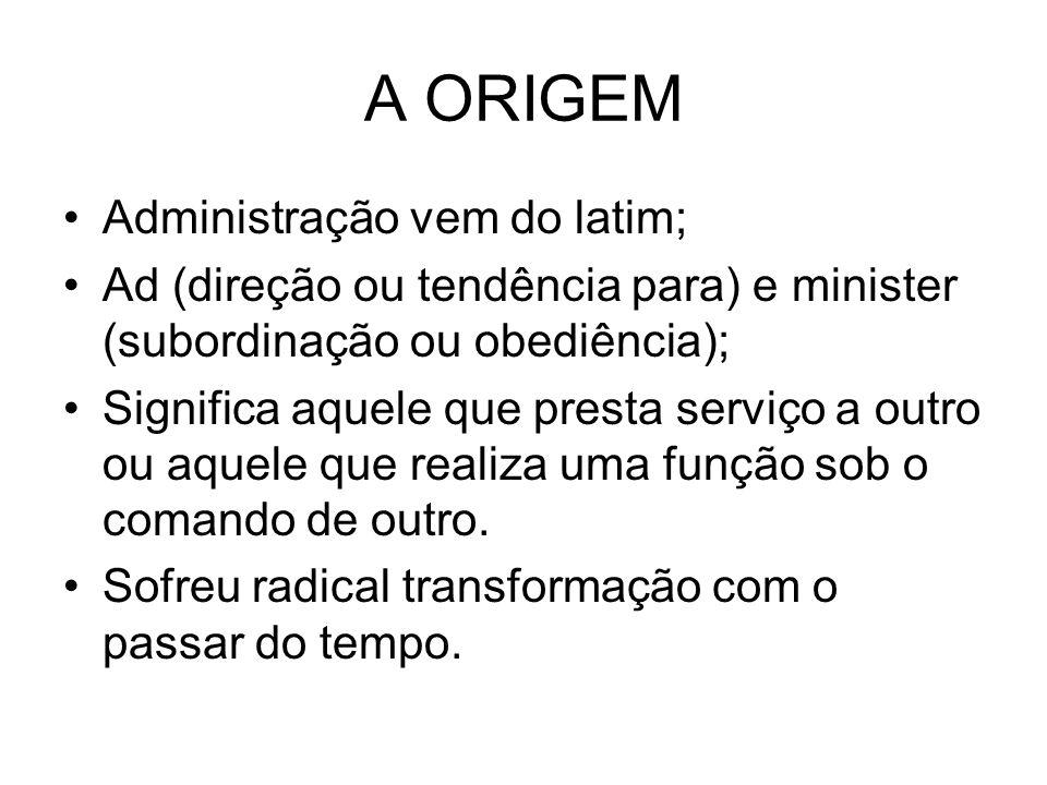 A ORIGEM Administração vem do latim;