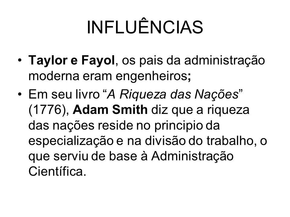 INFLUÊNCIASTaylor e Fayol, os pais da administração moderna eram engenheiros;