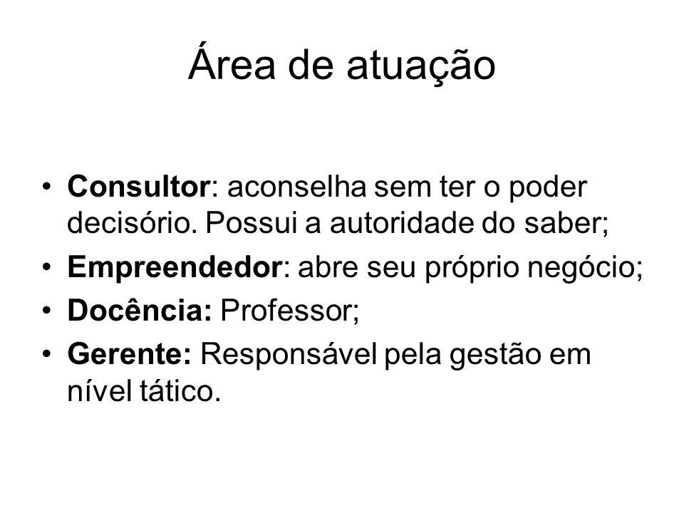 Área de atuação Consultor: aconselha sem ter o poder decisório. Possui a autoridade do saber; Empreendedor: abre seu próprio negócio;