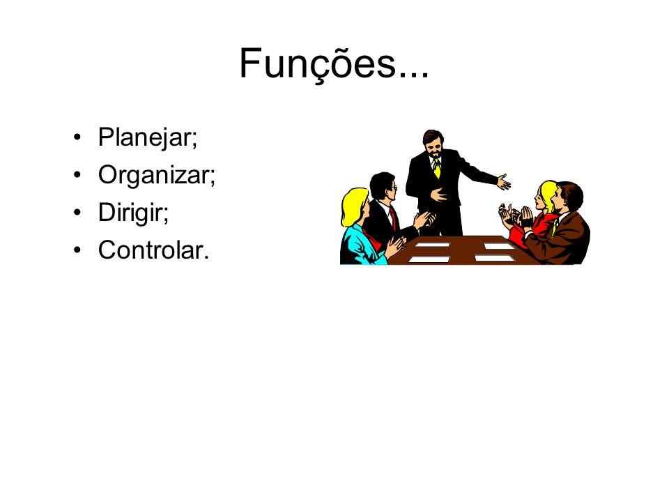 Funções... Planejar; Organizar; Dirigir; Controlar.