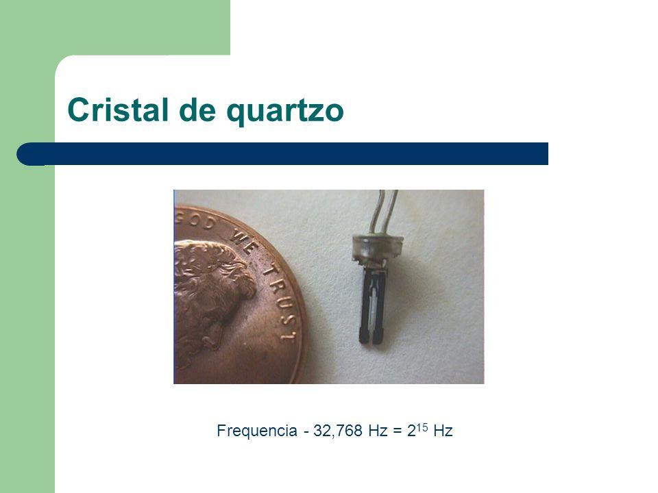 Cristal de quartzo Frequencia - 32,768 Hz = 215 Hz