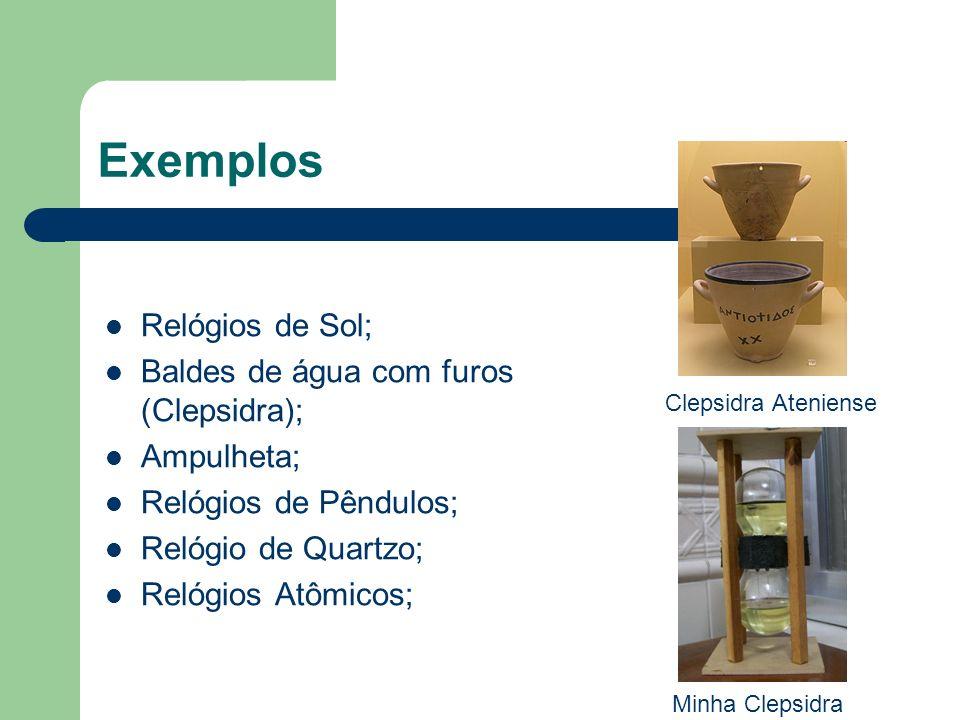 Exemplos Relógios de Sol; Baldes de água com furos (Clepsidra);