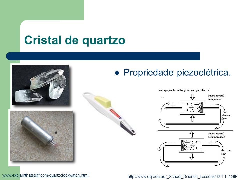 Cristal de quartzo Propriedade piezoelétrica.