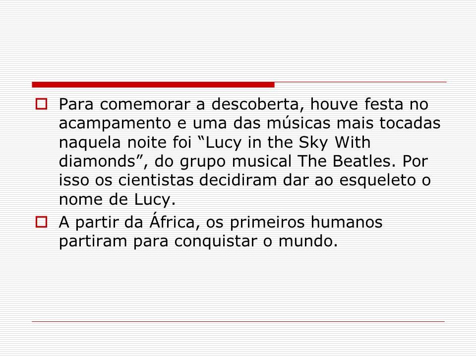 Para comemorar a descoberta, houve festa no acampamento e uma das músicas mais tocadas naquela noite foi Lucy in the Sky With diamonds , do grupo musical The Beatles. Por isso os cientistas decidiram dar ao esqueleto o nome de Lucy.