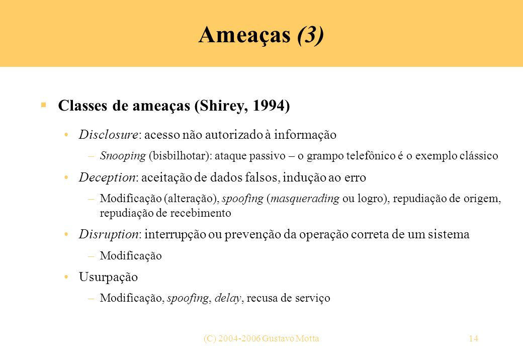 Ameaças (3) Classes de ameaças (Shirey, 1994)