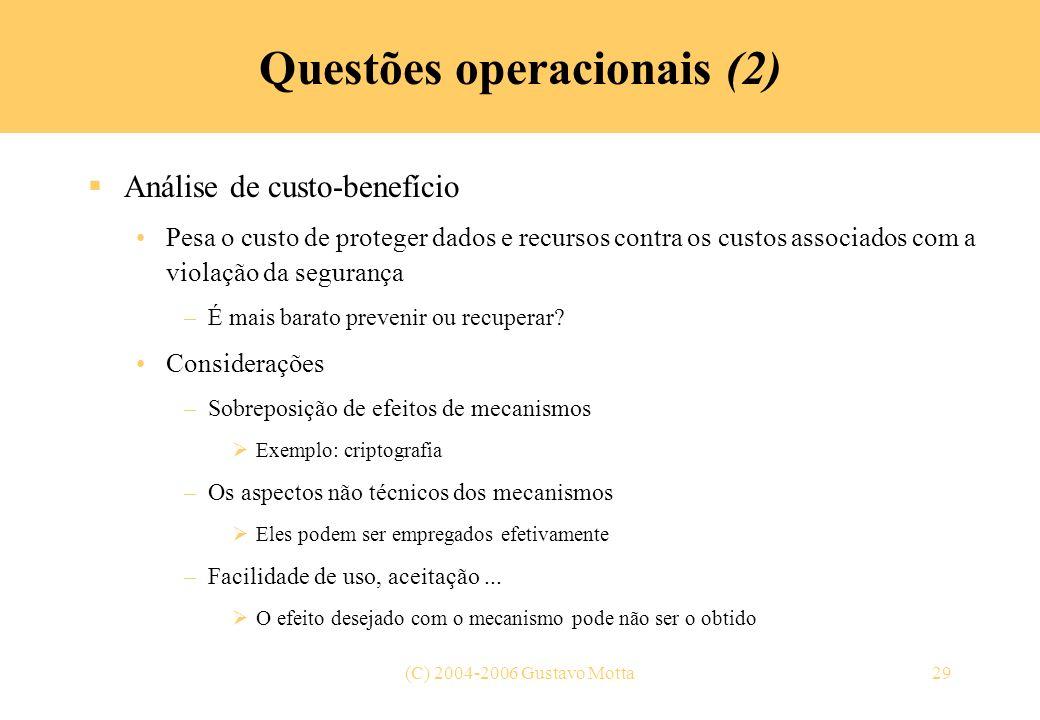 Questões operacionais (2)