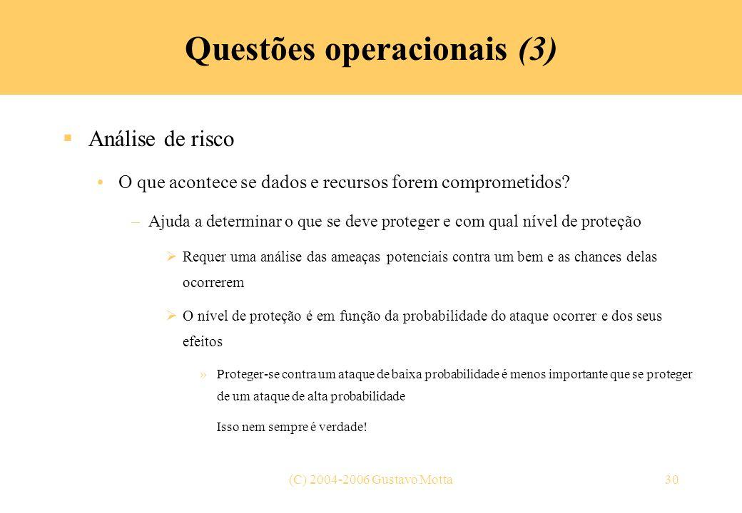 Questões operacionais (3)