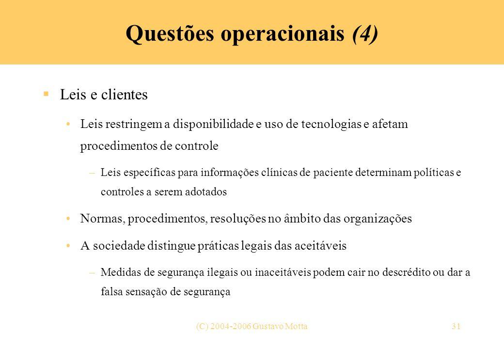 Questões operacionais (4)