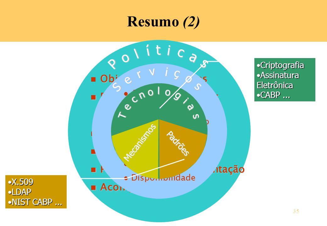 Resumo (2) í t i c l o a s P v i ç r o e S s Objetivos e requisitos