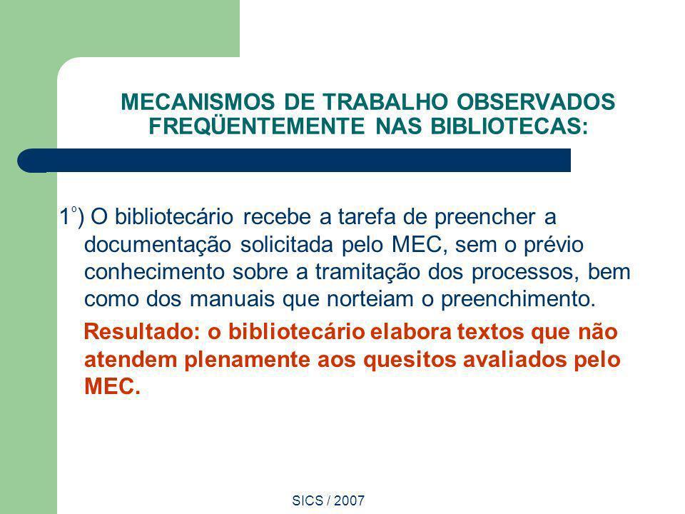 MECANISMOS DE TRABALHO OBSERVADOS FREQÜENTEMENTE NAS BIBLIOTECAS: