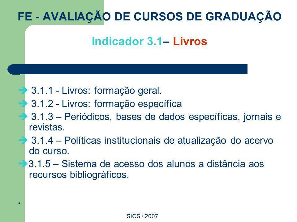 FE - AVALIAÇÃO DE CURSOS DE GRADUAÇÃO Indicador 3.1– Livros