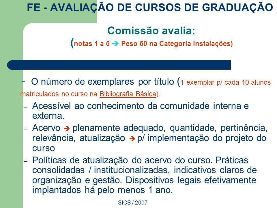 FE - AVALIAÇÃO DE CURSOS DE GRADUAÇÃO Comissão avalia: (notas 1 a 5  Peso 50 na Categoria Instalações)