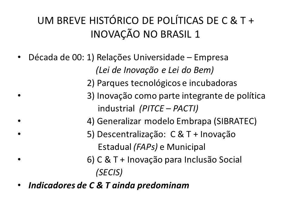 UM BREVE HISTÓRICO DE POLÍTICAS DE C & T + INOVAÇÃO NO BRASIL 1