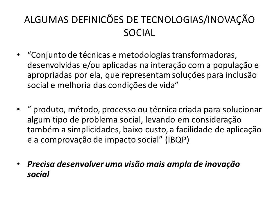 ALGUMAS DEFINICÕES DE TECNOLOGIAS/INOVAÇÃO SOCIAL
