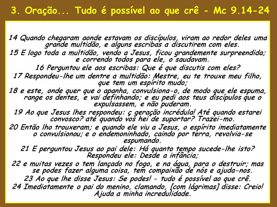 3. Oração... Tudo é possível ao que crê - Mc 9.14-24