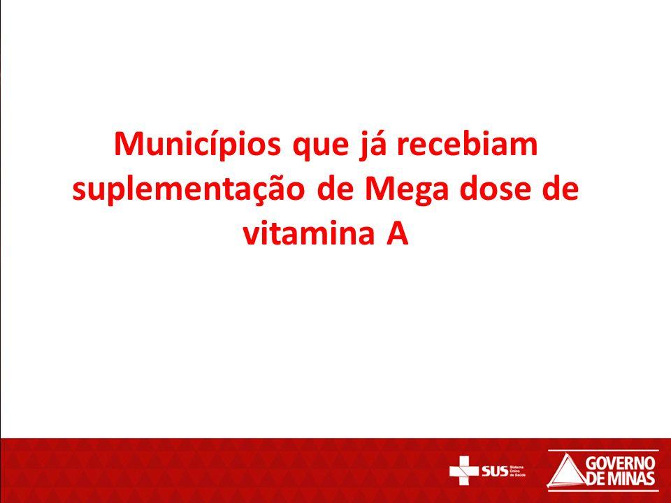 Municípios que já recebiam suplementação de Mega dose de vitamina A