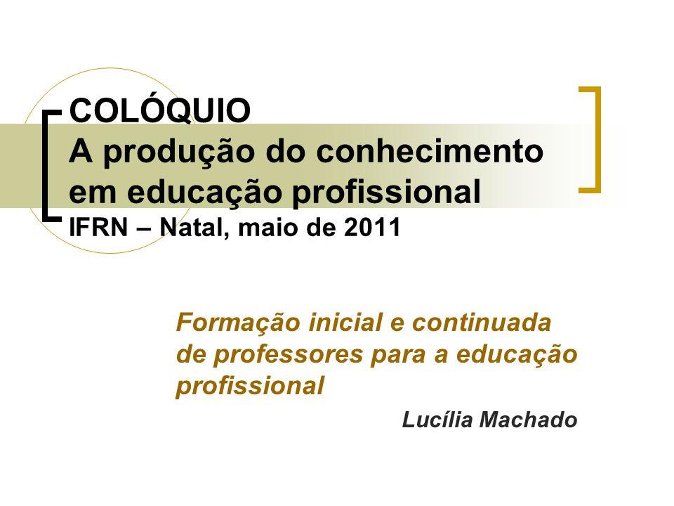 COLÓQUIO A produção do conhecimento em educação profissional IFRN – Natal, maio de 2011