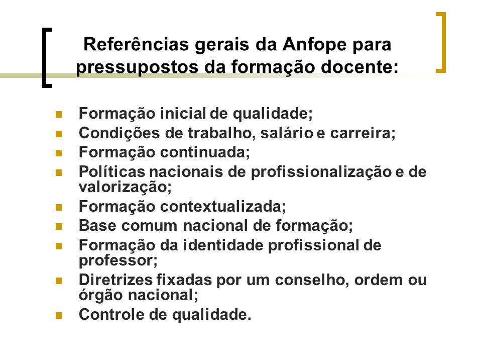 Referências gerais da Anfope para pressupostos da formação docente: