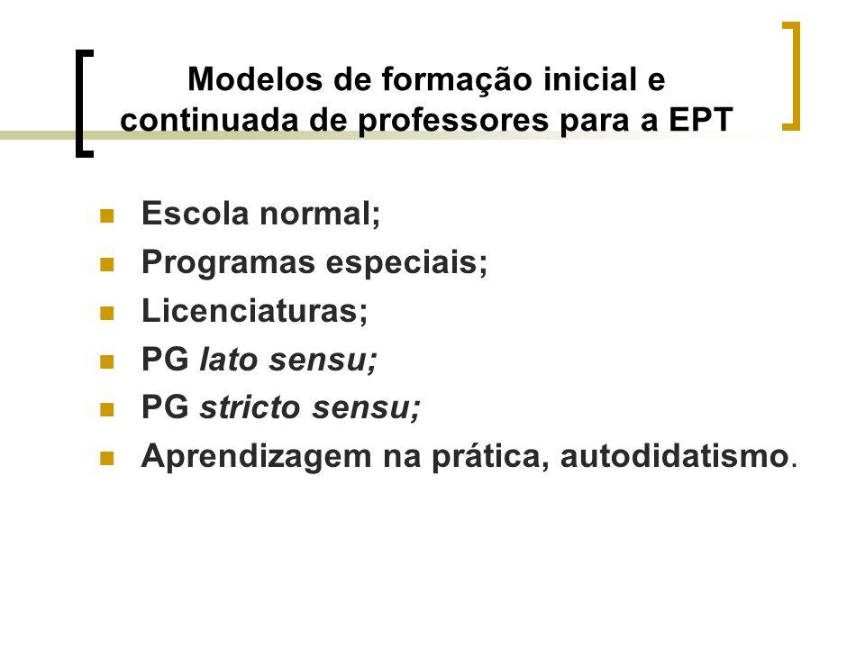 Modelos de formação inicial e continuada de professores para a EPT