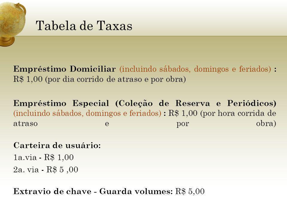 Tabela de Taxas Empréstimo Domiciliar (incluindo sábados, domingos e feriados) : R$ 1,00 (por dia corrido de atraso e por obra)