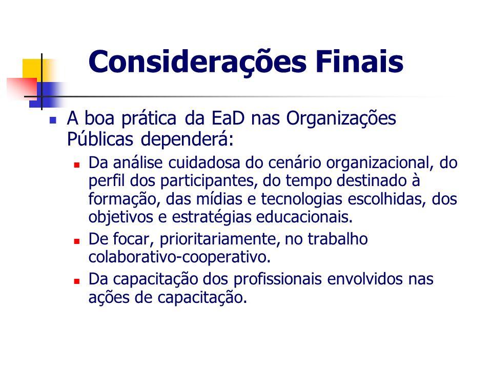 Considerações FinaisA boa prática da EaD nas Organizações Públicas dependerá: