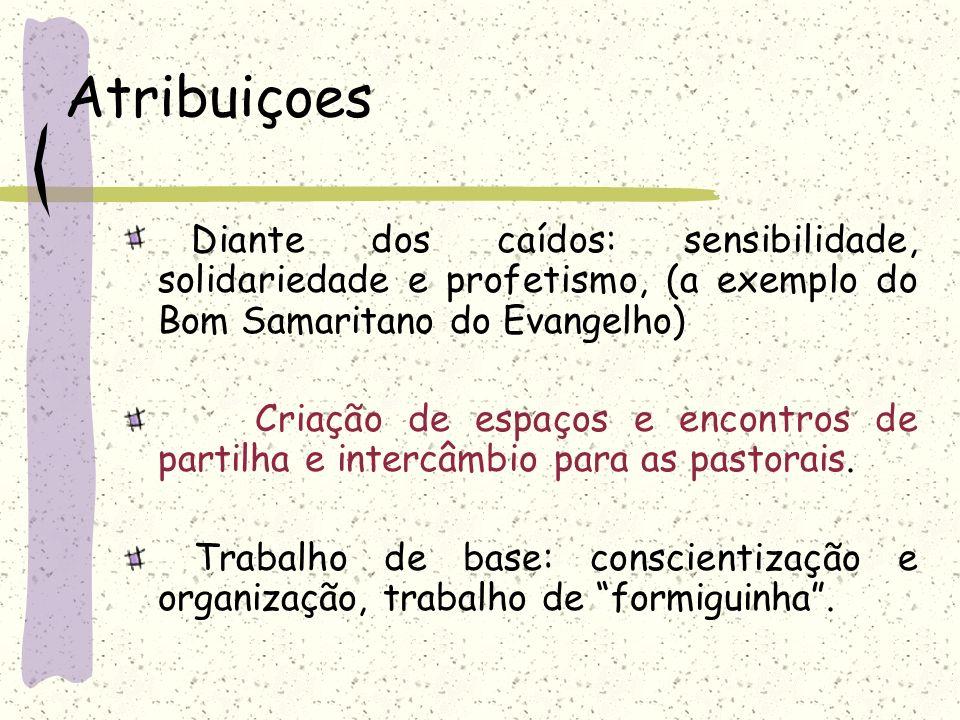 Atribuiçoes Diante dos caídos: sensibilidade, solidariedade e profetismo, (a exemplo do Bom Samaritano do Evangelho)