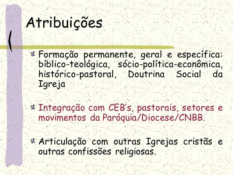 AtribuiçõesFormação permanente, geral e específica: bíblico-teológica, sócio-política-econômica, histórico-pastoral, Doutrina Social da Igreja.