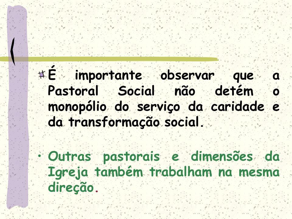 É importante observar que a Pastoral Social não detém o monopólio do serviço da caridade e da transformação social.