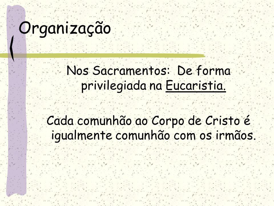 Organização Nos Sacramentos: De forma privilegiada na Eucaristia.