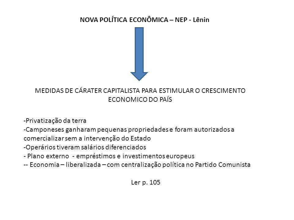 NOVA POLÍTICA ECONÔMICA – NEP - Lênin