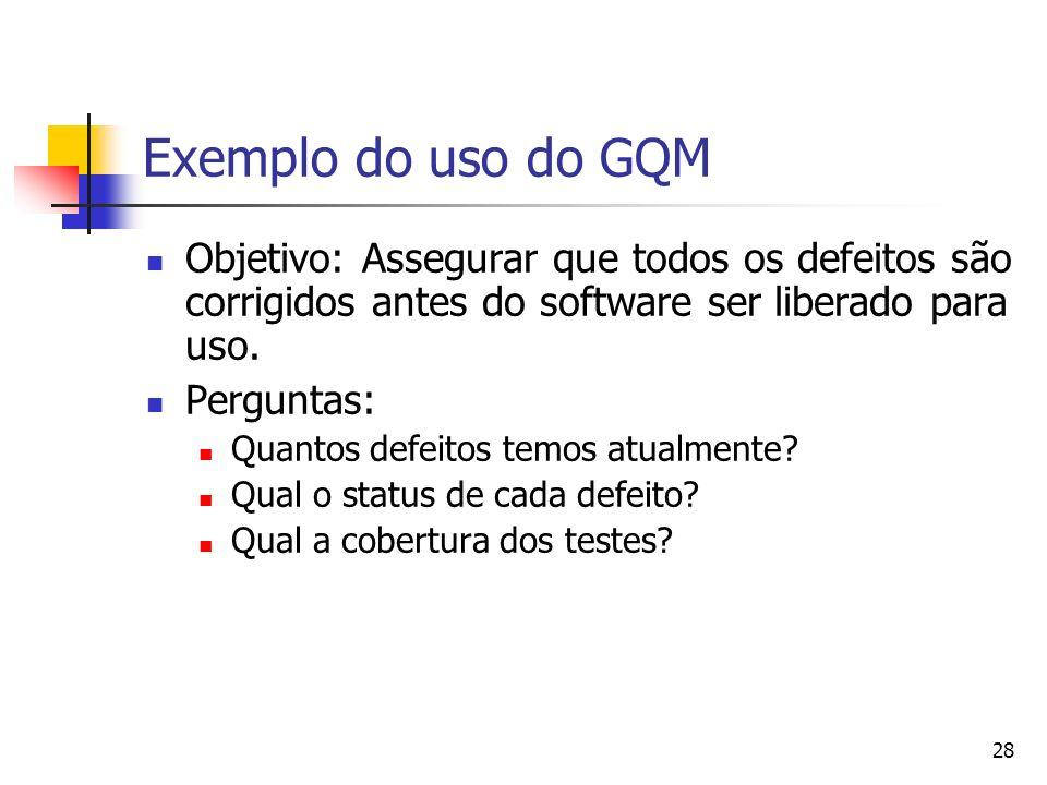 Exemplo do uso do GQMObjetivo: Assegurar que todos os defeitos são corrigidos antes do software ser liberado para uso.