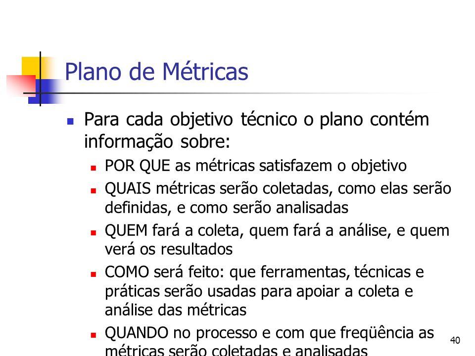 Plano de MétricasPara cada objetivo técnico o plano contém informação sobre: POR QUE as métricas satisfazem o objetivo.