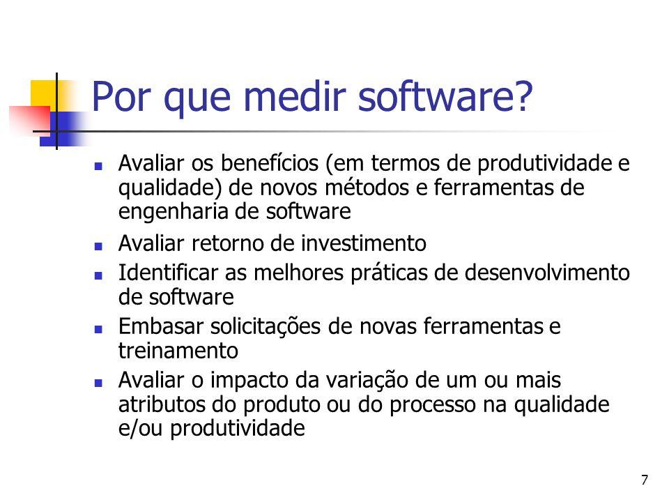 Por que medir software Avaliar os benefícios (em termos de produtividade e qualidade) de novos métodos e ferramentas de engenharia de software.