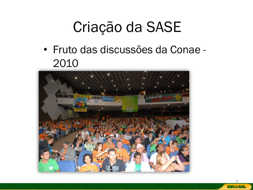 Criação da SASE Fruto das discussões da Conae - 2010