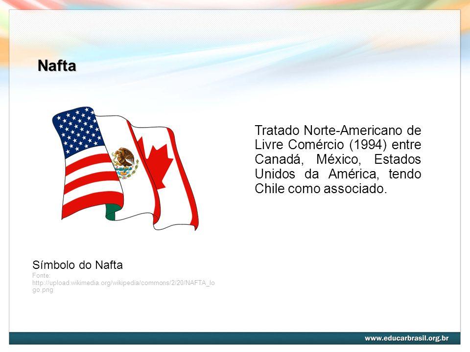 Nafta Tratado Norte-Americano de Livre Comércio (1994) entre Canadá, México, Estados Unidos da América, tendo Chile como associado.