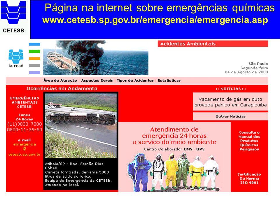 Página na internet sobre emergências químicas