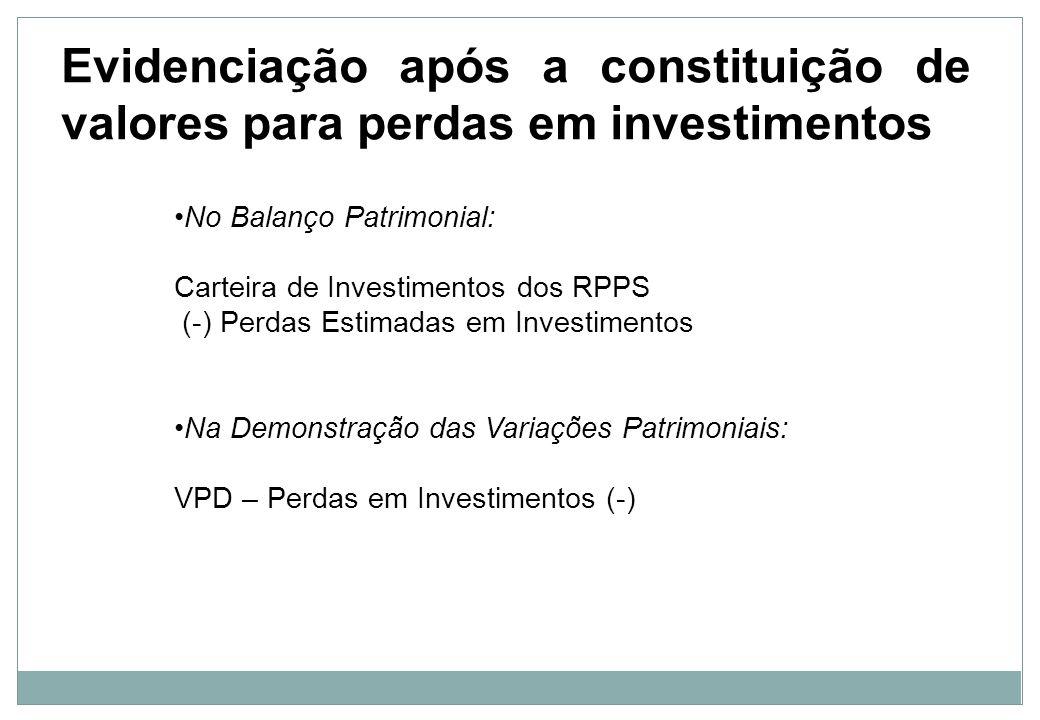 Evidenciação após a constituição de valores para perdas em investimentos
