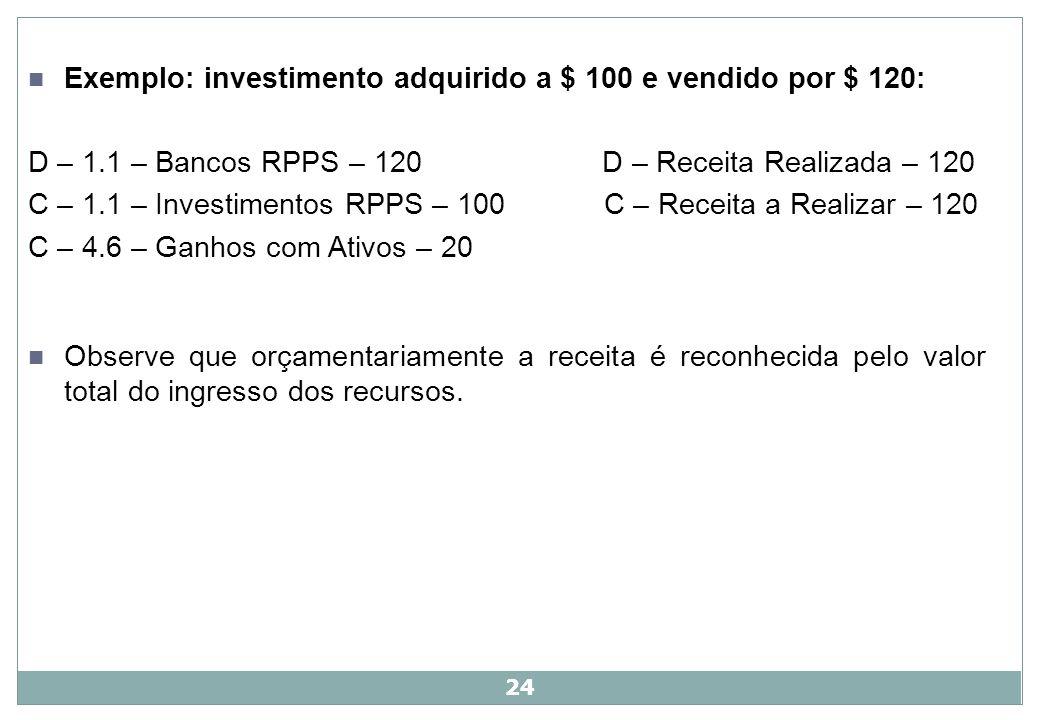 Exemplo: investimento adquirido a $ 100 e vendido por $ 120: