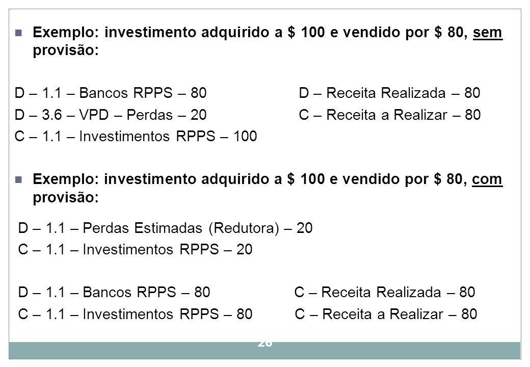 Exemplo: investimento adquirido a $ 100 e vendido por $ 80, sem provisão: