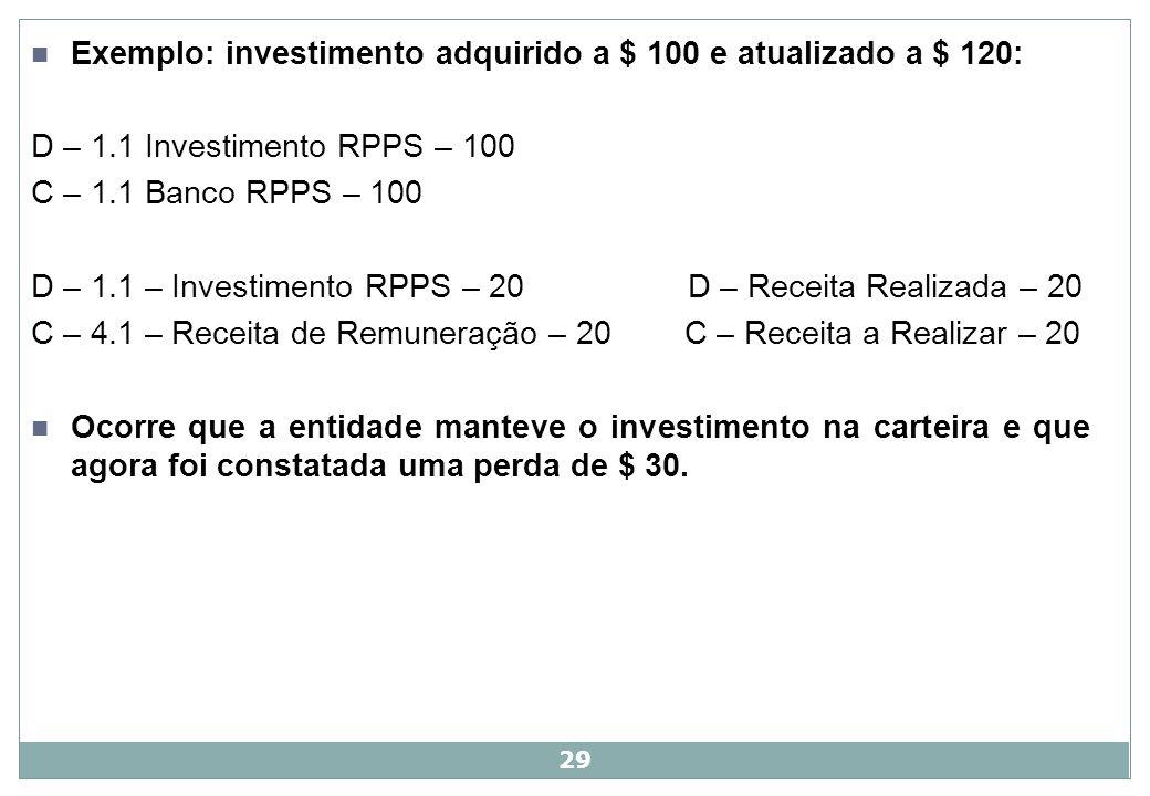 Exemplo: investimento adquirido a $ 100 e atualizado a $ 120: