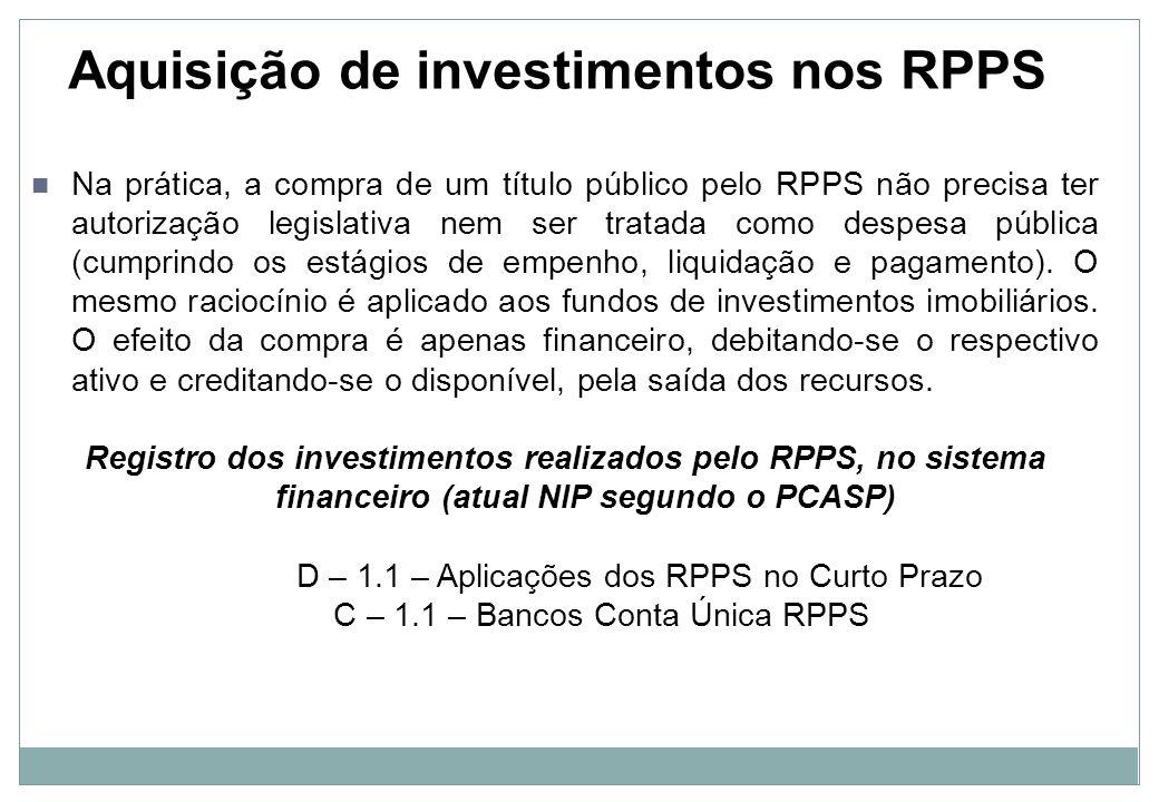 Aquisição de investimentos nos RPPS