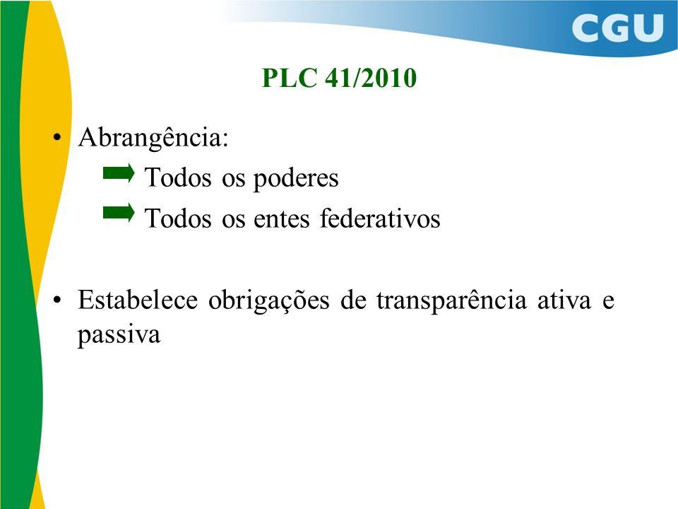 PLC 41/2010 Abrangência: Todos os poderes. Todos os entes federativos.